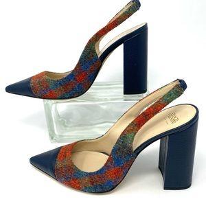 Frances Valentine Sandy Sz 10 Blue~Plaid Wool